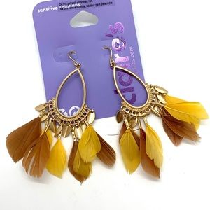 5/$25 Brown yellow and gold dangle feather earring